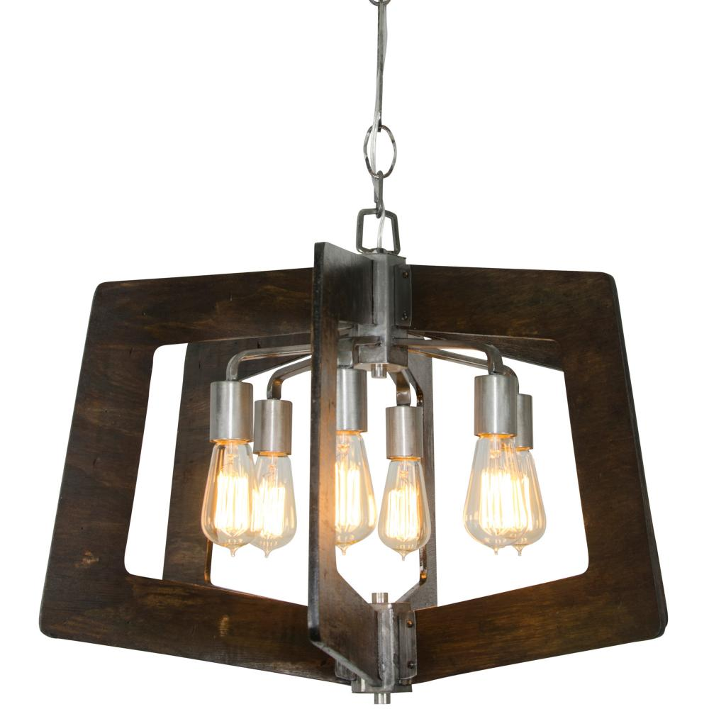 Lofty 6 Lt Chandelier   Steel/Zebrawood